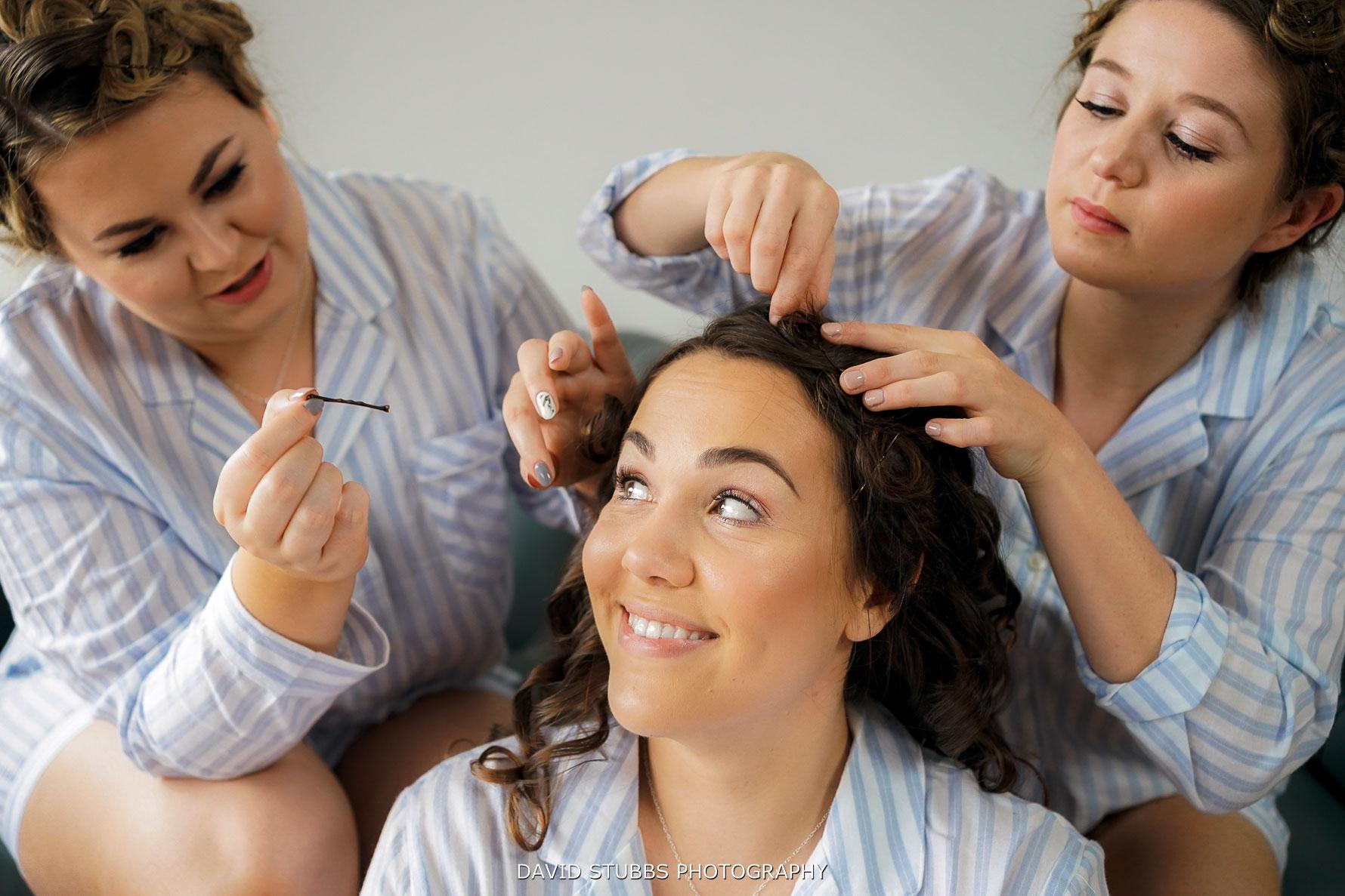 bridemaids having hair done