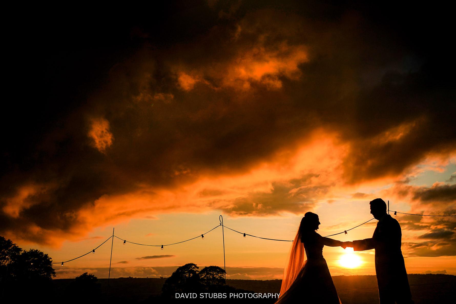 wedding photo heaton house farm sunset