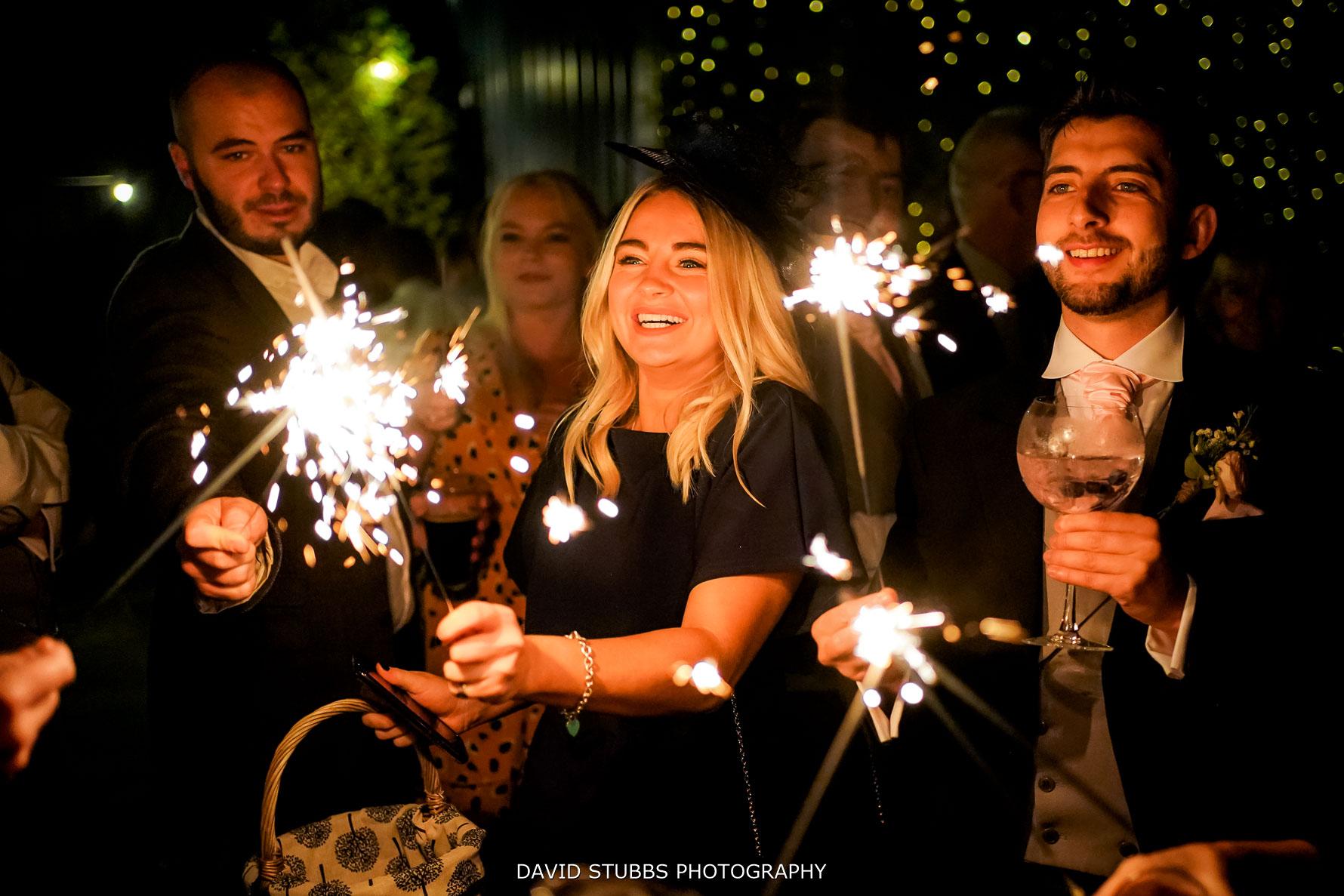 wedding sparklers at heaton house farm