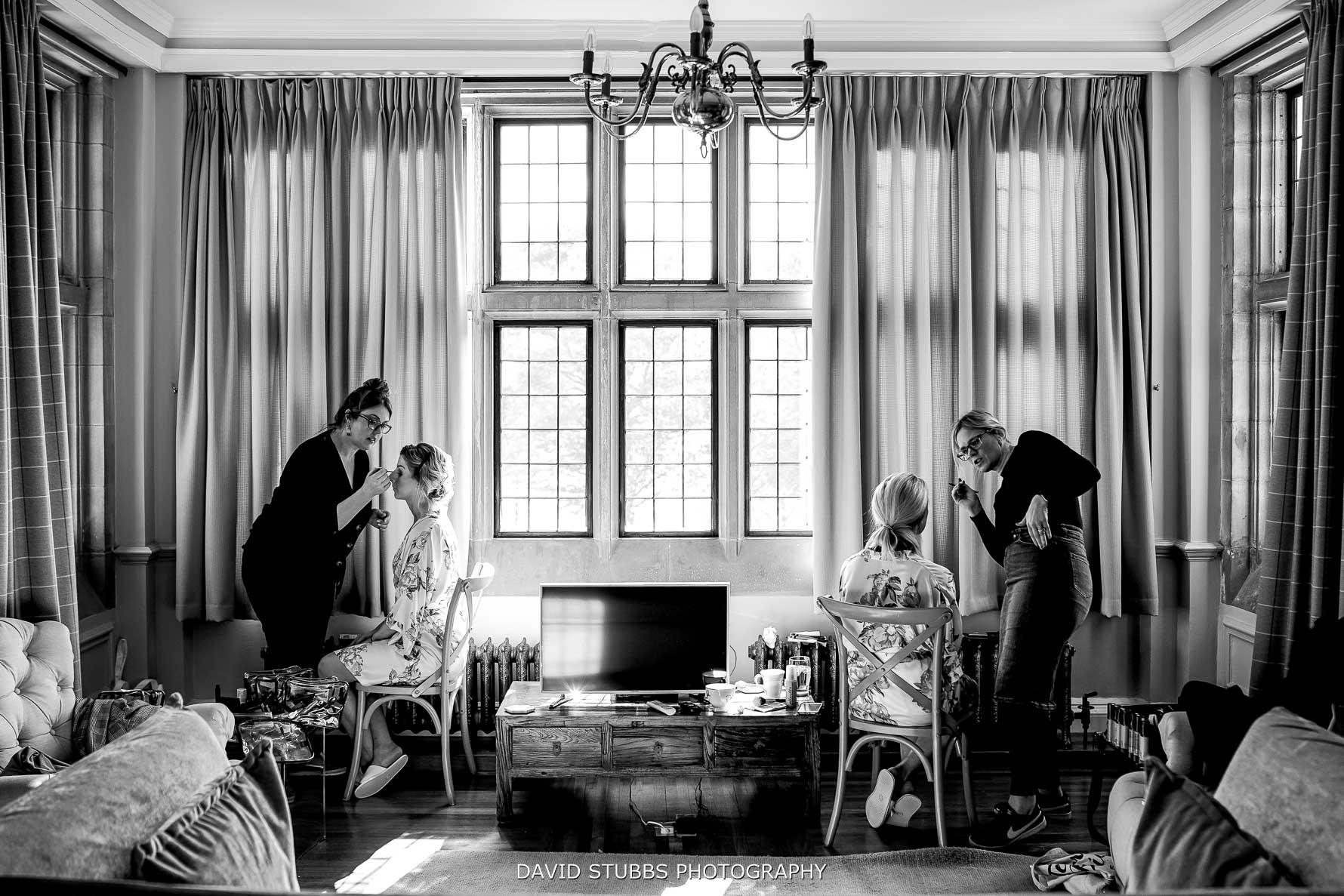 bridal preparations in function room