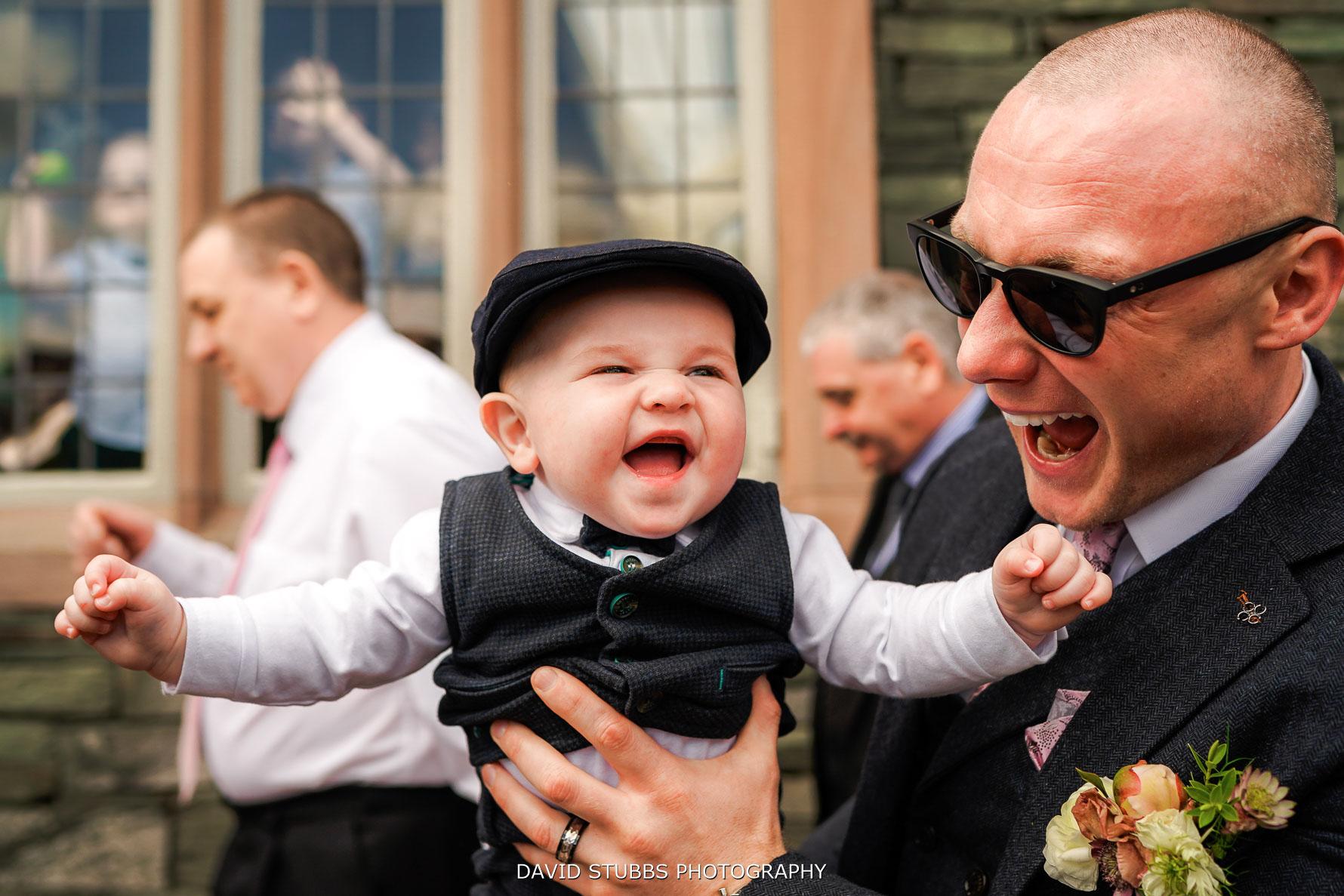 fun and laughter at this lakes wedding