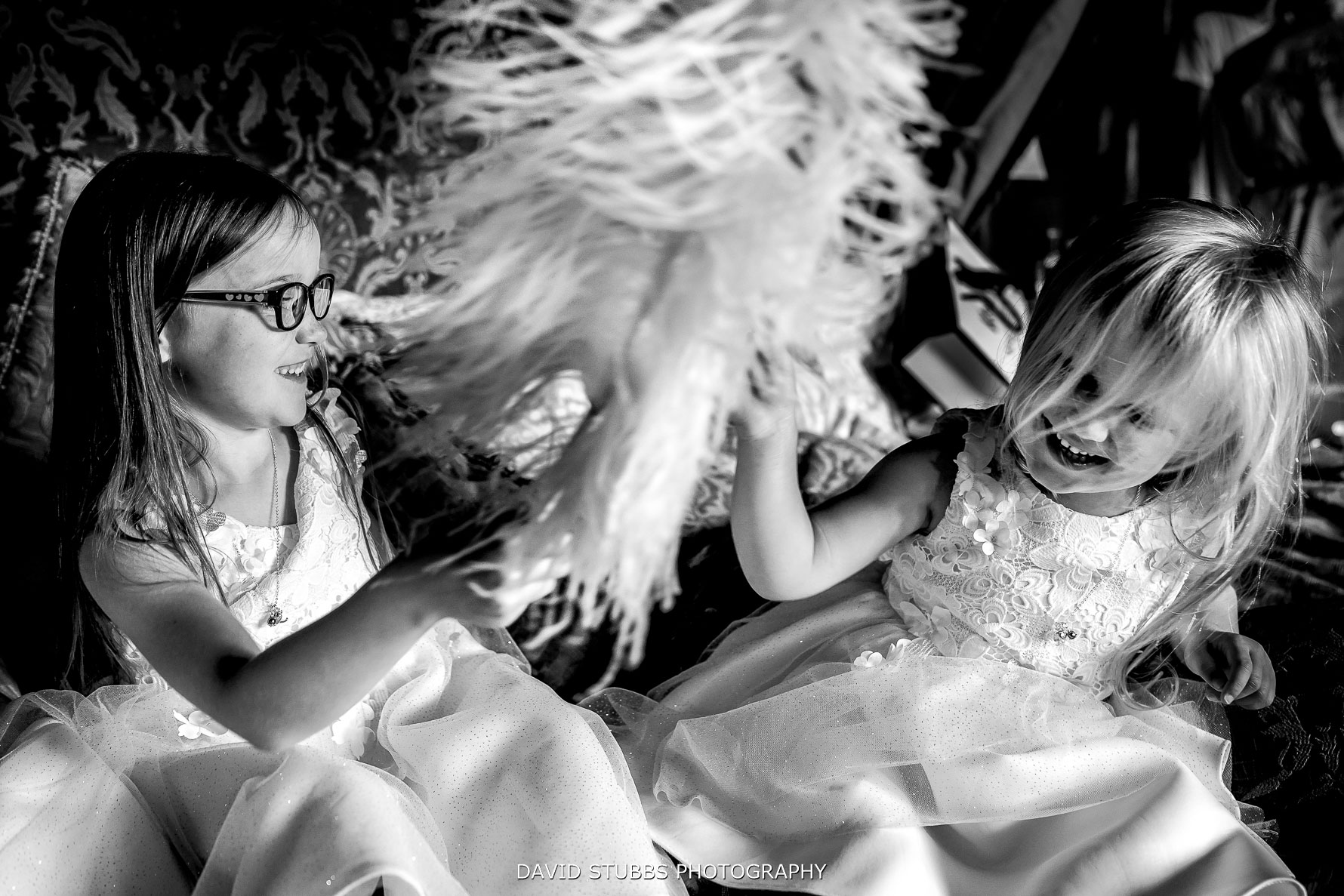 flower girls playing in the big room