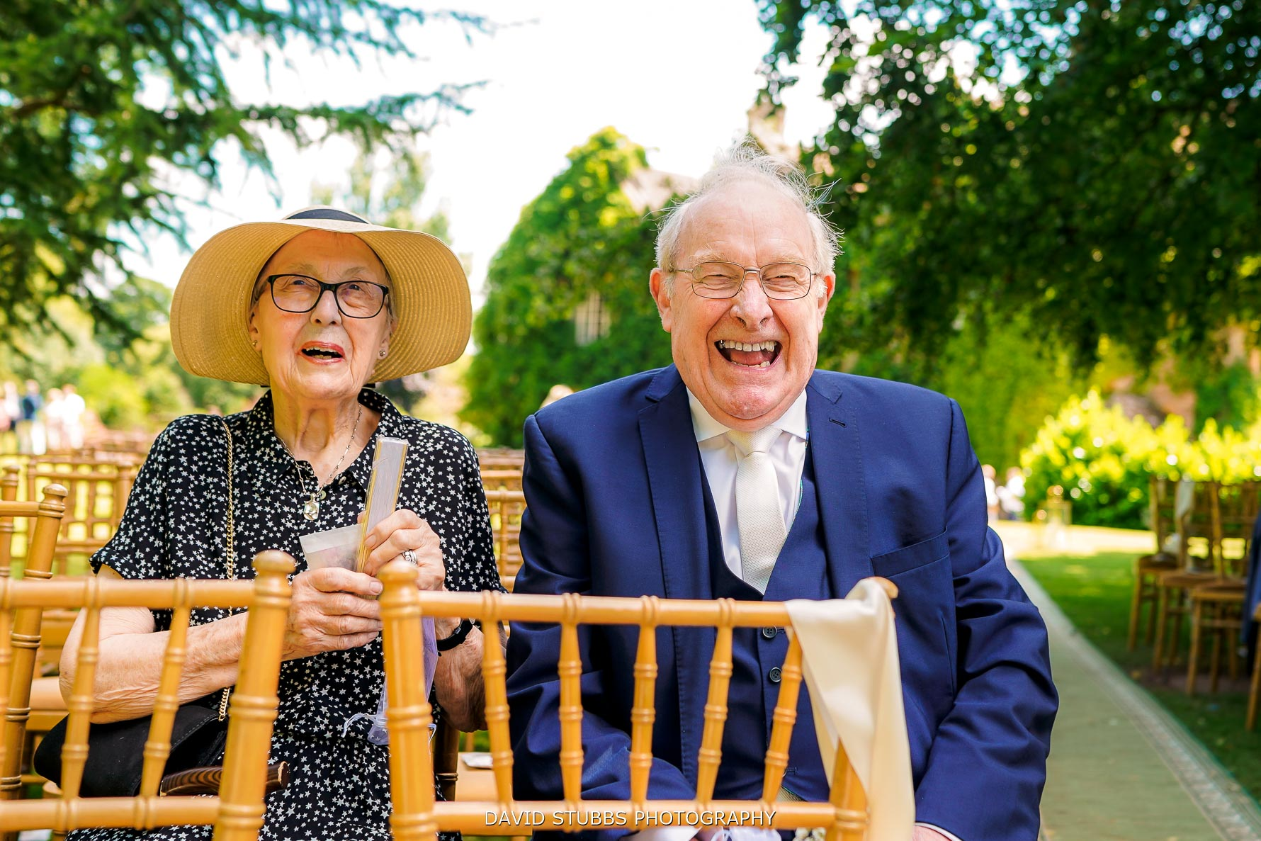 grandparents at the outdoor wedding ceremony