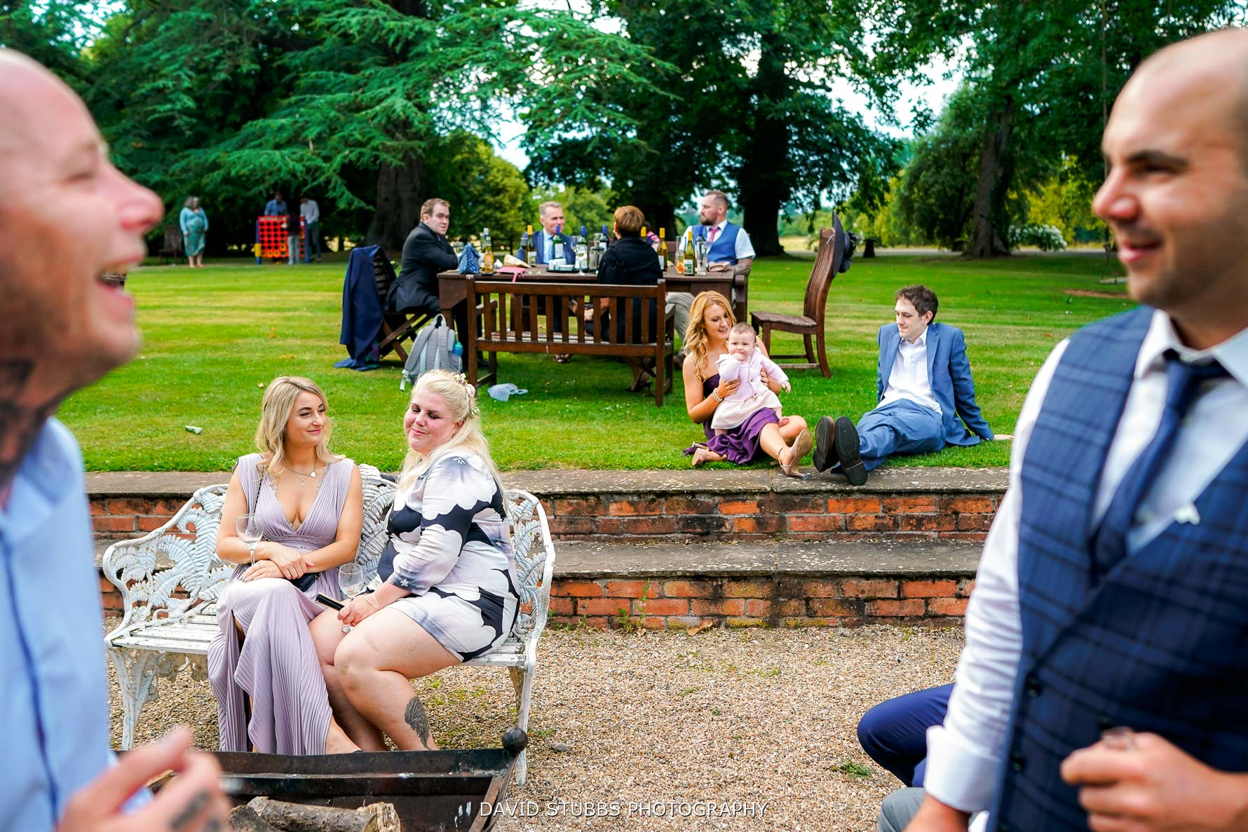 layered composition of guests relaxing